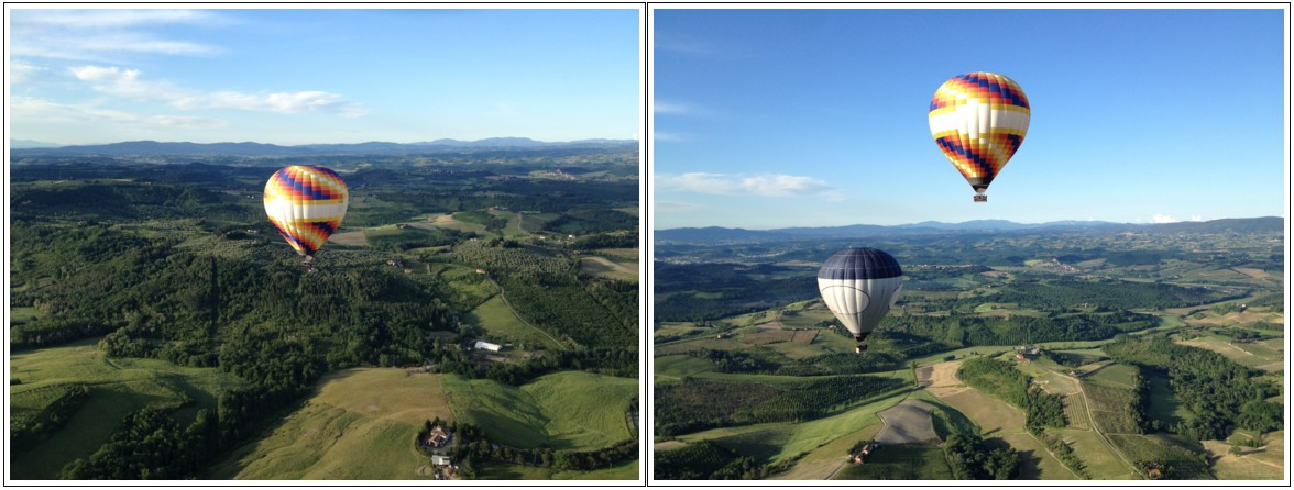 Balloon in Tuscany over the chianti area