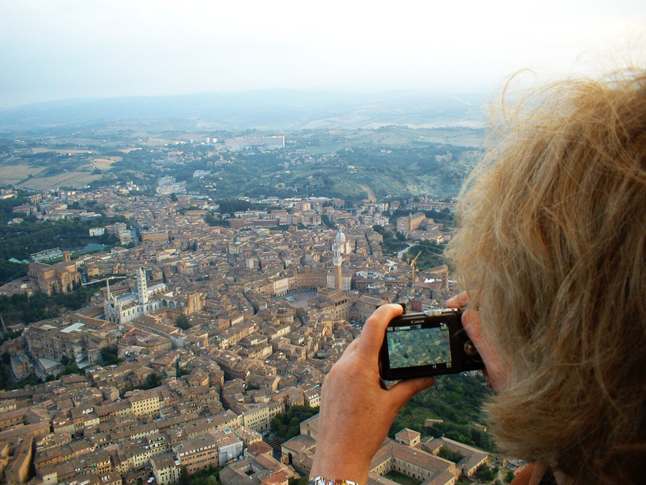 View of Siena from a hot air balloon
