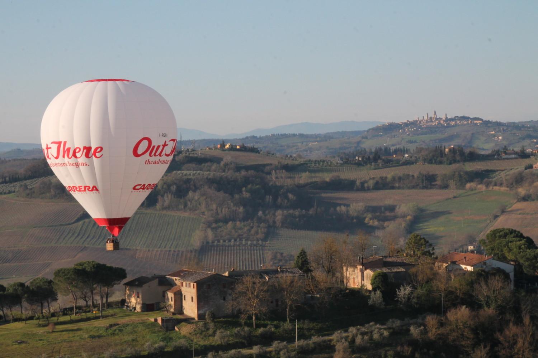 Hot air balloon in San Gimignano